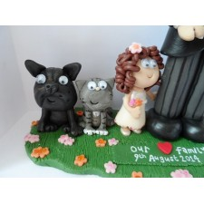 Little with cat & dog wedding cake topper