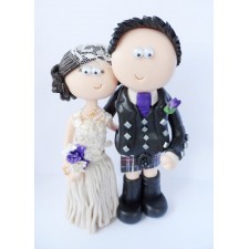 Scottish Bride & Groom kilt cake topper