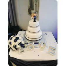 Football wedding cake topper Bride & Groom