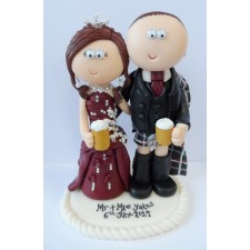 Scottish Bride & Groom wedding cake topper