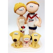 Rugby wedding cake topper with dogs and children