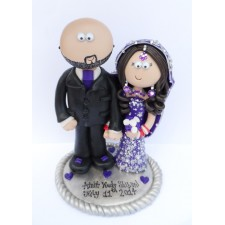 Purple & Silver Asian Themed Bride & Groom cake topper