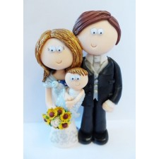 Bride & Groom with baby wedding cake topper