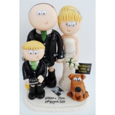 Bride & Grom with son & dog cake topper