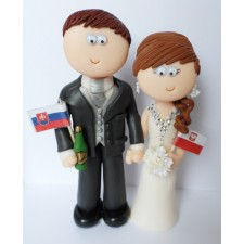 Bride and Groom wedding cake topper with flags