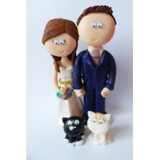 Wedding cake topper with cats