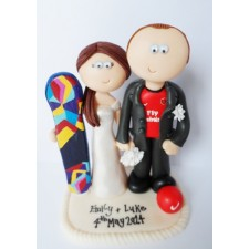 Snowboarder Bride & Arsenal loving Groom cake topper