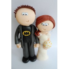 Batman loving Groom & his Bride wedding cake topper