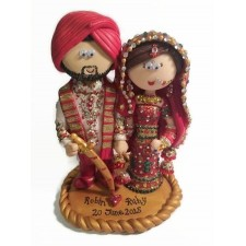 Sikh Bride & Groom wedding cake topper