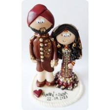 Indian Bride and Groom wedding cake topper