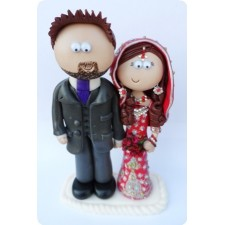 Asian wedding cake topper Bride and Groom