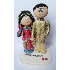 Indian Bride & Groom cake topper in pink & gold