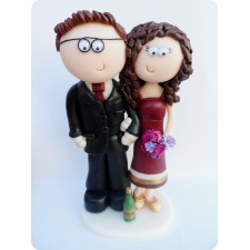 None traditional Bride & Groom wedding cake topper