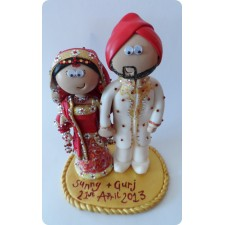 Handmade personalised Sikh wedding cake topper
