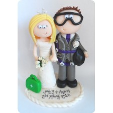 Skydiving Groom & Medic Bride wedding cake topper