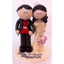 Asian Bride & Manchester United Groom wedding cake topper