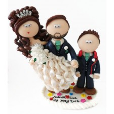 Groom carrying Bride with child wedding cake topper