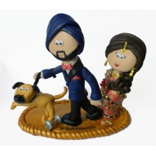 Sikh Bride & Groom with dog wedding cake topper
