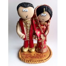Funny Indian Bride & Groom wedding cake topper personalised