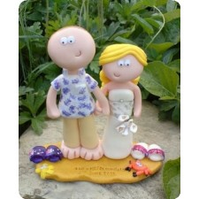 Personalised beach wedding cake topper