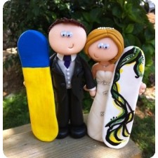 Beach and surfing wedding cake topper