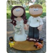Handmade beach wedding cake topper