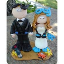 Scuba diving wedding cake topper