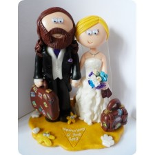 Beach wedding Bride and Groom cake topper