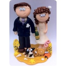 Beach holiday wedding cake topper