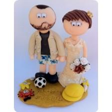 Beach wedding cake topper