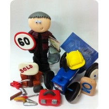 Builder birthday cake toppers