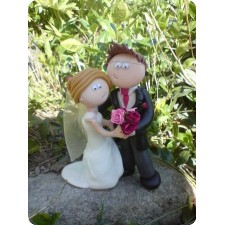 Dancing Bride and groom wedding cake toppers