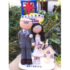 Bride and groom personalised Las Vegas wedding cake topper