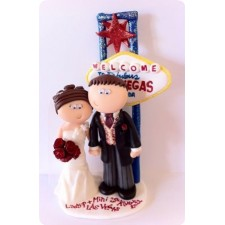Las Vegas personalised handmade wedding cake topper