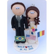 Bride and groom personalised wedding cake topper