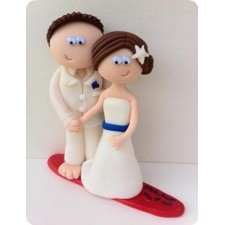 Surfing wedding cake toppers