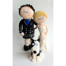 Funny Scottish Bride & Groom cake topper with dog