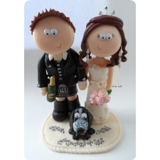 Wedding cake toppers, couple with Cocker Spaniel