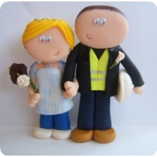 Nurse & Builder wedding cake topper
