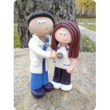 Doctor and Nurse wedding cake topper