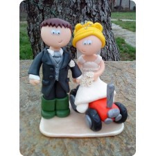 Farmer and tractor wedding cake topper