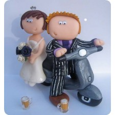 Personalised Vespa scooter wedding cake topper