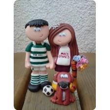 Football and hockey wedding cake topper