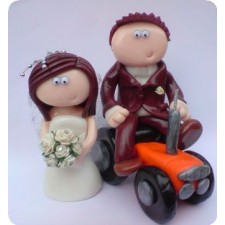 Farmer and his tractor wedding cake topper