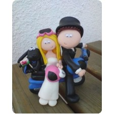 Moped wedding cake topper