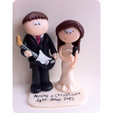 Guitar player & singer wedding cake topper