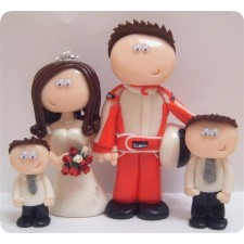 Race car driving wedding cake topper