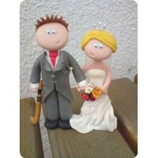 Hockey player wedding cake topper