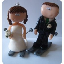 Skiing wedding cake topper