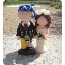 Scuba diving wedding cake topper